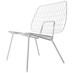 WM String Lounge Chair by Studio WM, in Two-Pack, White Steel Frame