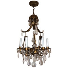 Wonderful French Pagoda Gilt Rock Crystal Bagues Chandelier Six-Light Fixture