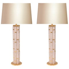 Pair of Bamboo Form Rock Crystal Quartz Lamps