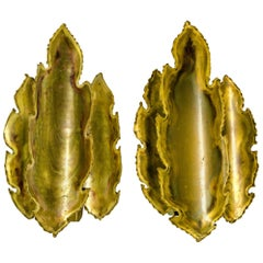 Brutalist Brass Flame Leaf Sconces (pair)