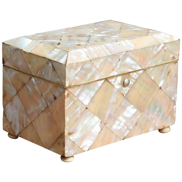 Petite Mother-of-Pearl Tea Caddy For Sale