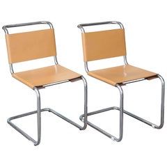 Pair of Knoll Marcel Breuer Cesca Side Chairs