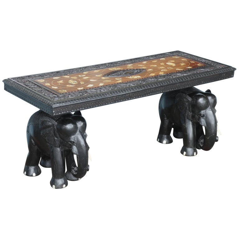 Anglo-Indian Elephant Motif Cocktail Table For Sale