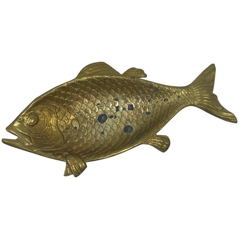 1960s Italian Brass Fish Sculpture Bowl