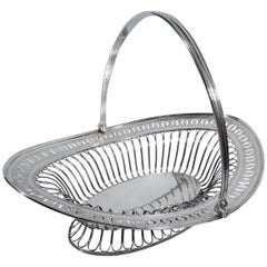 Antique English Neoclassical Sterling Silver Basket