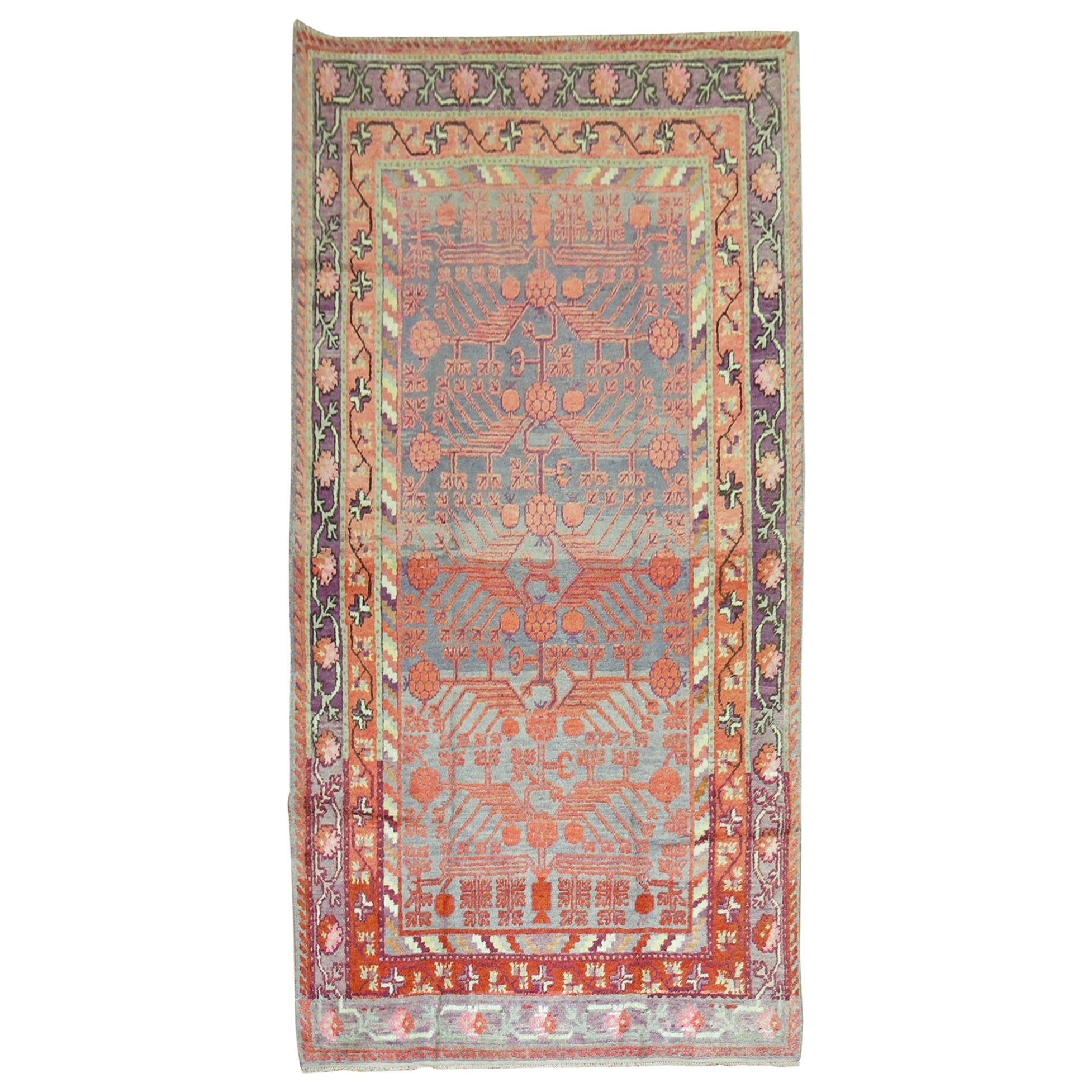 Early 20th Century Khotan Wool Gray Field Antique Pomegranate Rug