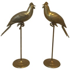 1960s Sergio Bustamante Style Brass Cockatiel Bird Sculpture on Perch, Pair