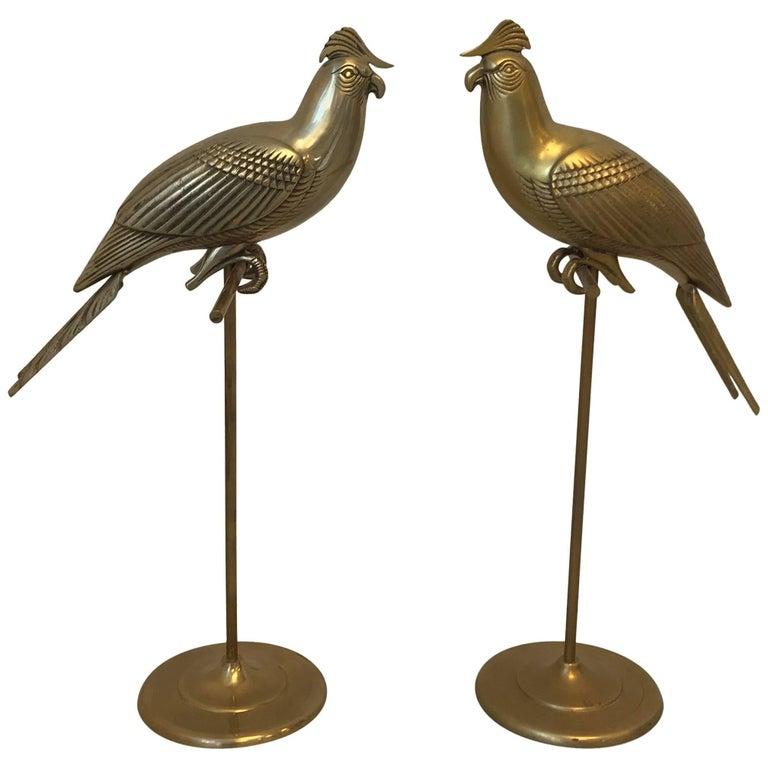 1960s Sergio Bustamante Style Brass Cockatiel Bird Sculpture on Perch, Pair