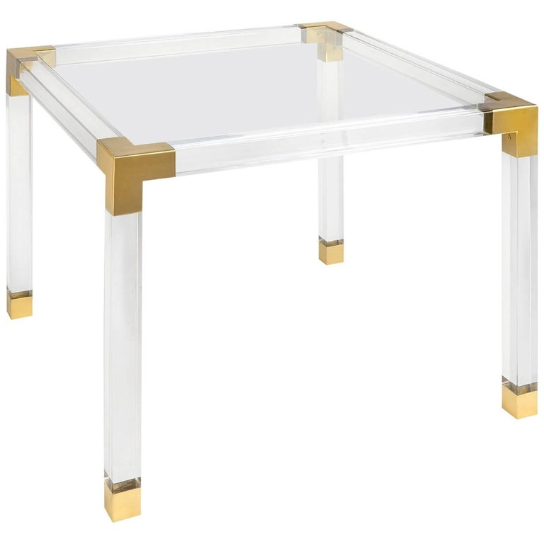 Jacques Lucite and Brass Game Table