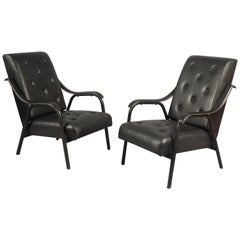 Pair of Armchairs, Attributed to Jacques Quinet, France, 1950s