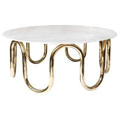 Scalinatella Brass and Marble Cocktail Table