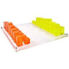 Neon Lucite Chess Set