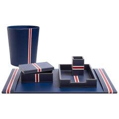 Capri Leather Desk Set in Navy