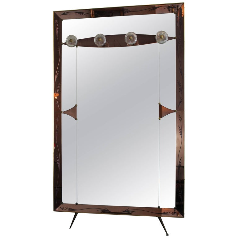 Italian Wall Mirror in Style of Max Ingrand for Fontana Arte For Sale