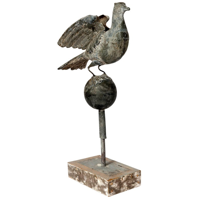 Tall Zinc Bird on Globe with Stand