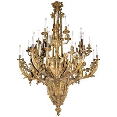 Louis XV Style Bronze Figural Thirty-Nine-Light Chandelier