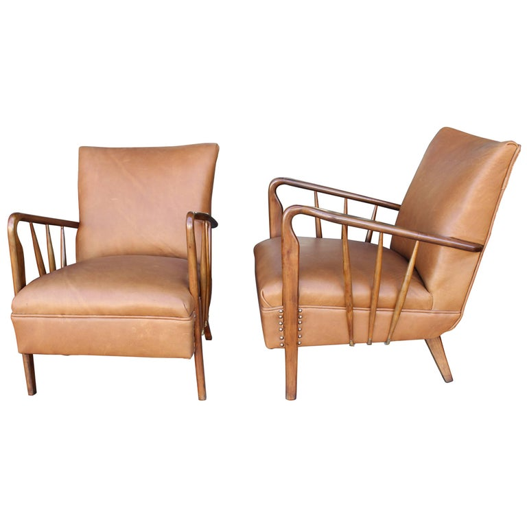 Italian Pair of Chairs Attributed to Guglielmo Ulrich For Sale