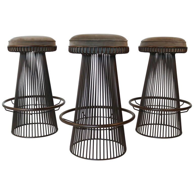 Trio of Barstools in Bronze after Warren Platner For Sale