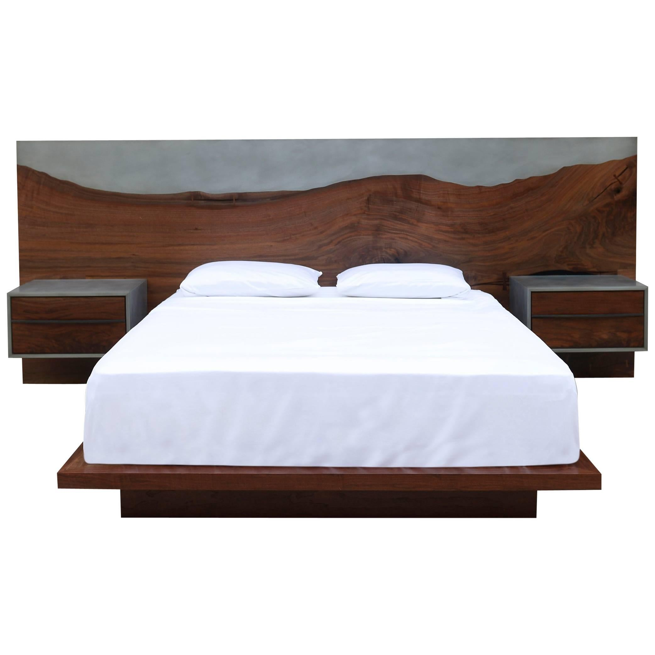Nola Bed, Customizable Wood, Metal And Resin, Queen Size
