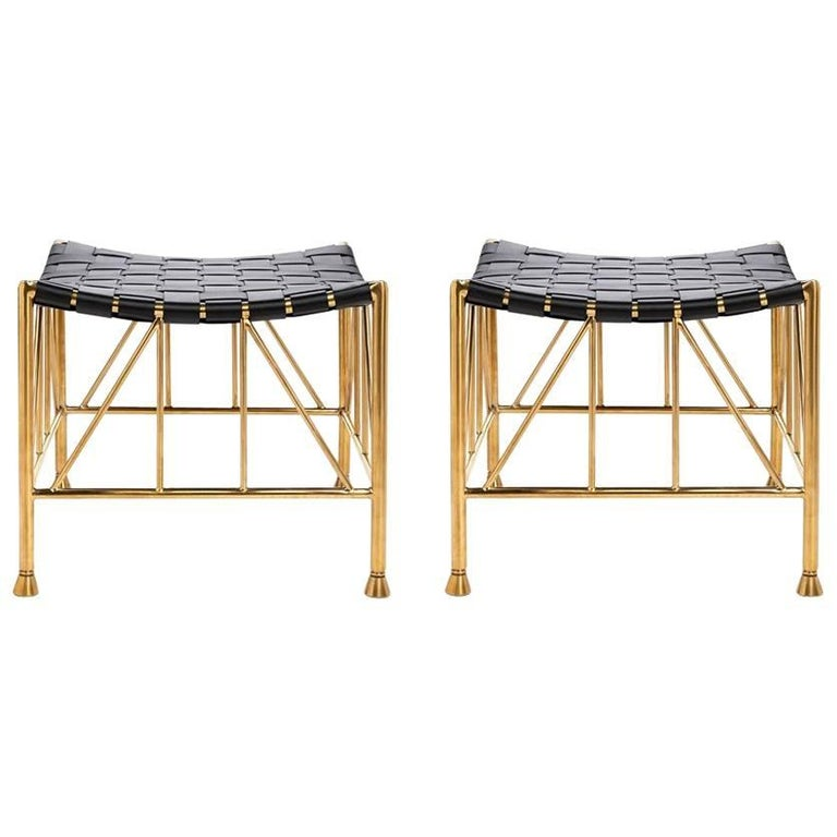 Thebes Leather and Brass Stool