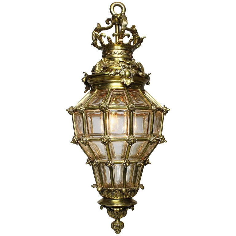 "French Early 20th Century Louis XIV Style Gilt-Bronze ""Versailles"" Style Lantern"