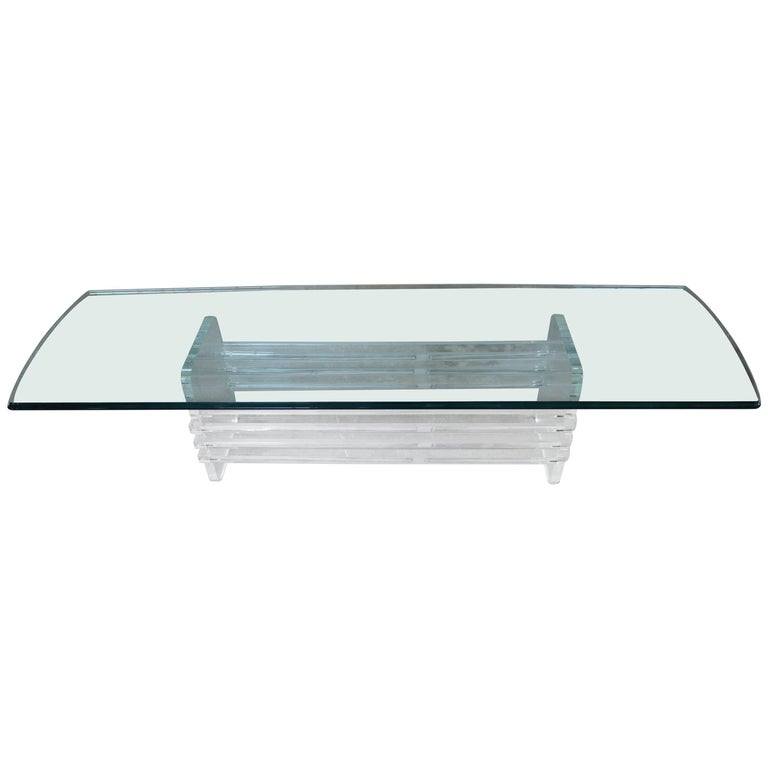 Architectural Lucite and Glass Top Coffee Table For Sale