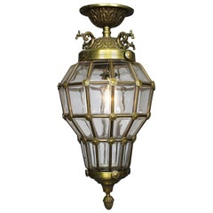 "French Mid-20th Century Louis XIV Style Gilt-Metal & Glass ""Versailles"" Lantern"