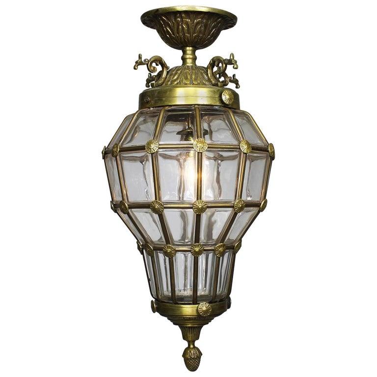 "French Mid-20th Century Louis XIV Style Gilt-Metal & Glass ""Versailles"" Lantern"