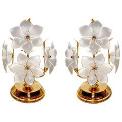 Pair Vintage Modernist Sputnik Gilt Italian Murano Venini Art Glass Table Lamps