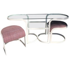 Milo Baughman for DIA Metal and Glass Modern Console Table and Bench Set