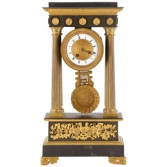"Grand Tour French Gilt and Patinated Bronze Portico Clock, ""Medaille d'argent"""