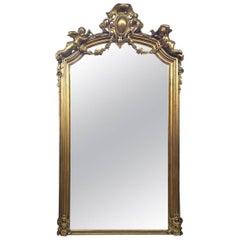 Italian Rococo Style Gilded Pier Mirror, 19th Century