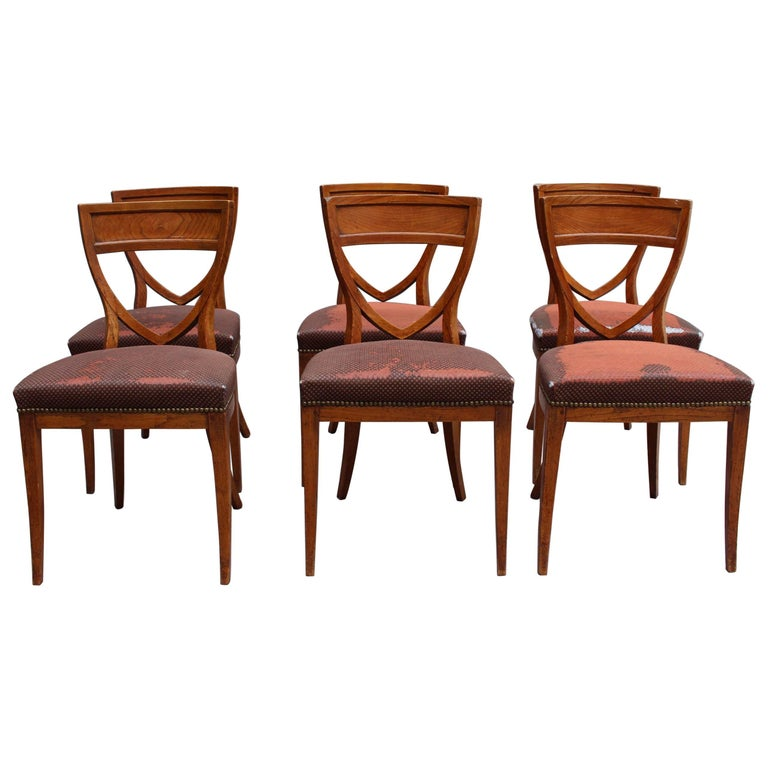 Set of Six French 1940s Neoclassical Dining Chairs