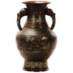 Monumental Chinese Bronze Enameled Elephant Handled Vase
