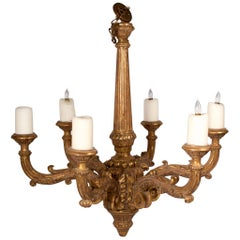 Baroque Style, Six-Light Hand-Carved and Gilded Chandelier