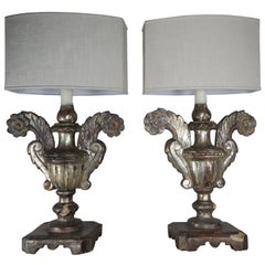 19th Century Silvered Urn Lamps with Linen Shades, Pair