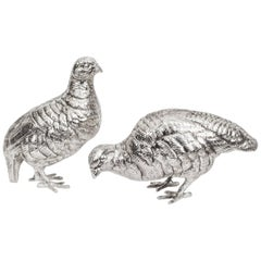 Antique Pair of Silver Plated Bronze Partridges, circa 1900