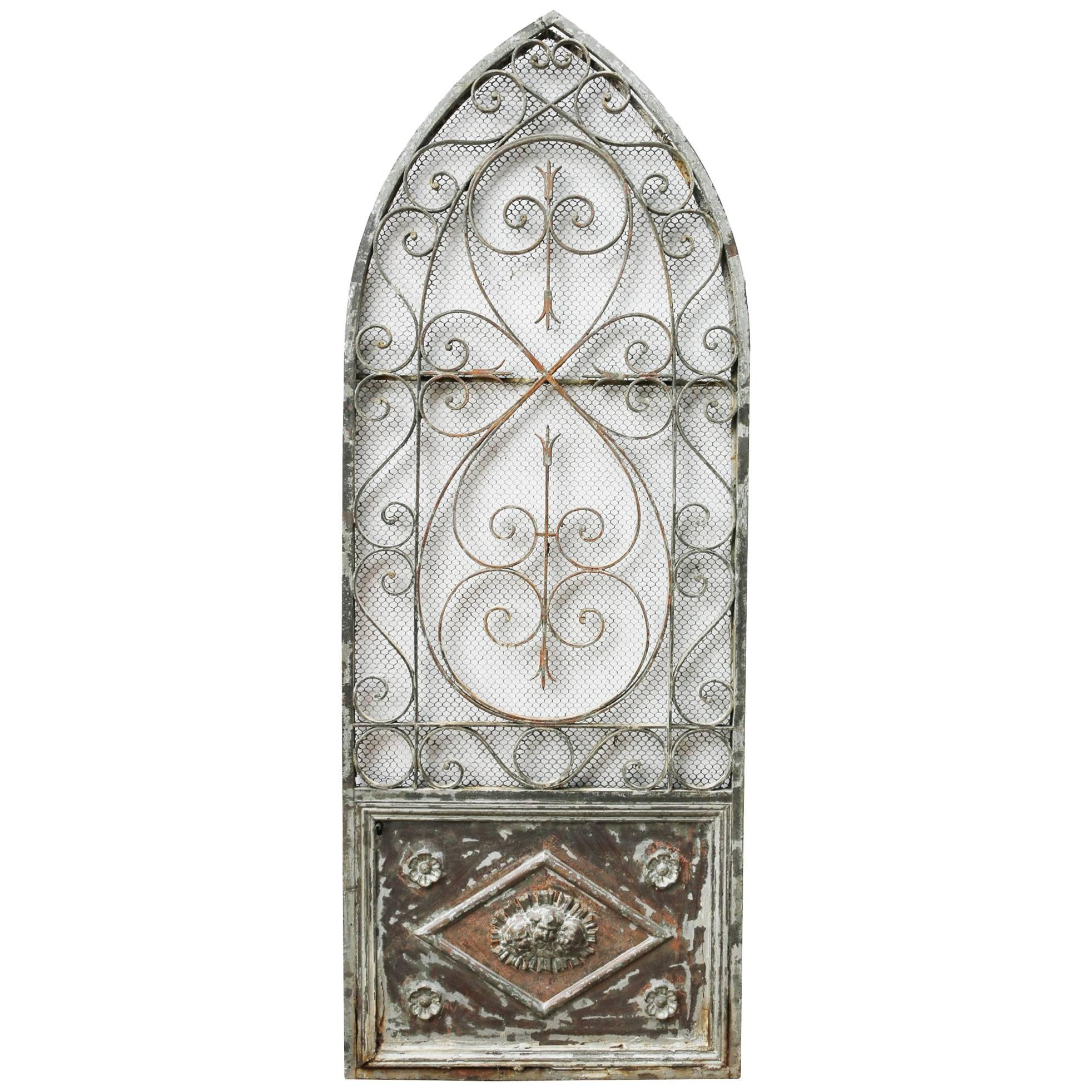 French Wrought Iron Arched Gate, circa 1900