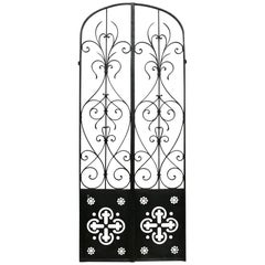 Pair of French Wrought Iron Arched Gates, circa 1900