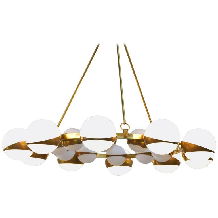 Style of Stilnovo Italian Chandelier Opalines Brass Large Sculptural Modernist For Sale