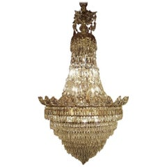 Large Crystal and Brass Bag Chandelier with 12 Lights, 20th Century