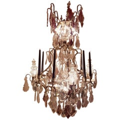 19th Century Chandelier with Five Large Pinnacles, 12 Lights and Eight Candles