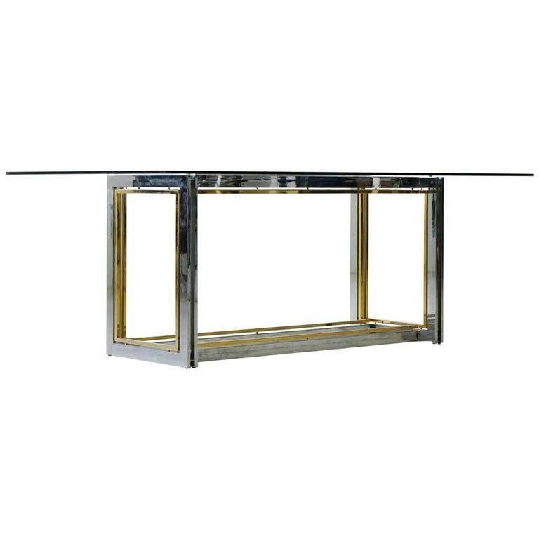 Italian Hollywood Regency Bimetal Bicolor Table or Desk, in Romeo Rega Style