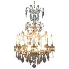Large Spanish Bronze Chandelier with 12 Lights, Early 20th Century