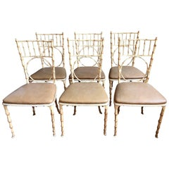 Faux Bamboo Metal Chairs from the 1970s