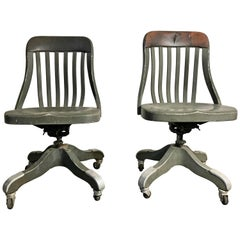 Early 1920s Shaw Walker Industrial All Aluminium Task Chairs