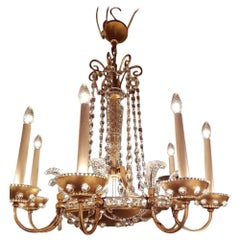 Beautiful Chandelier in Bagues Style with a Gilt Iron Frame, 28 Lights
