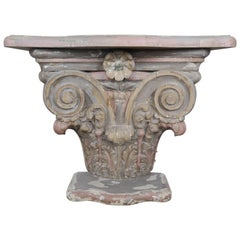 Italian Carved Painted Capital Console, circa 1930
