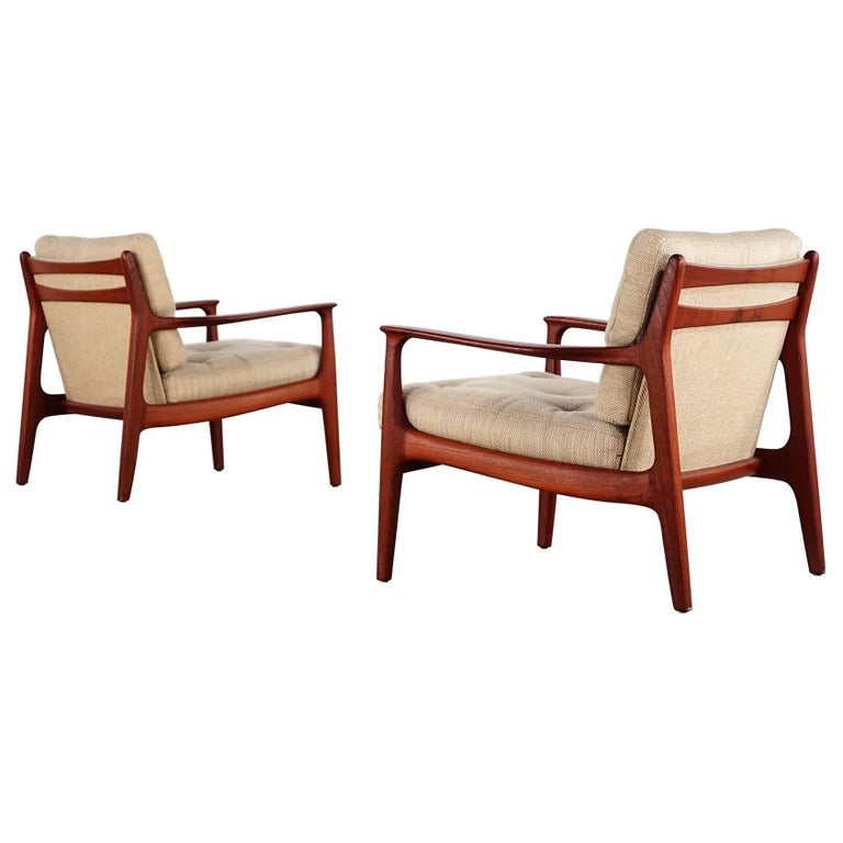 Eugen Schmidt Two Teak Lounge Chair by Soloform, Germany, Handcrafted For Sale