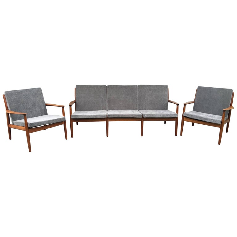 Danish Three-Seat Sofa and Pair of Armchairs in Teak by Greta Jalk